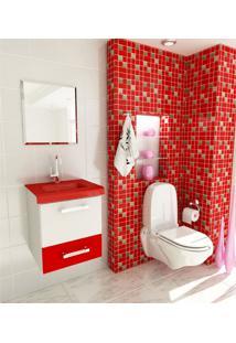 Kit Completo Para Banheiro 40 Cm Com 3 Peças Vetro 13 Branco E Vermelho Tomdo