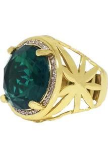 Anel Pedra Verde Visujóias Folheado A Ouro 18K Verde