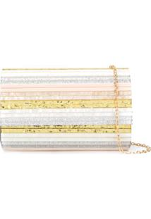 Kurt Geiger London Clutch Com Listras - Neutro