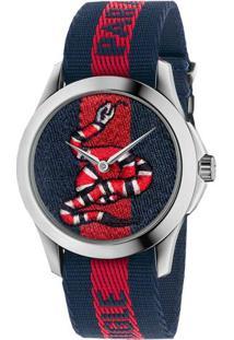 Relógio Gucci Feminino Nylon Azul E Vermelho - Ya126493