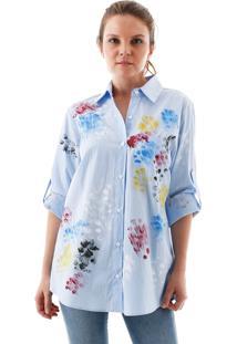 Camisa Aha Listrada Com Tie Dye Azul