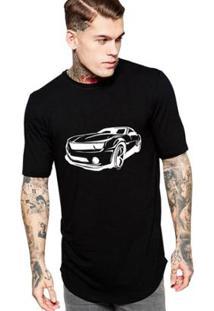 Camiseta Criativa Urbana Long Line Oversized Super Carros Masculina - Masculino-Preto