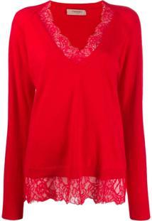 Twin-Set Suéter Com Detalhe De Renda - Vermelho