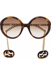 Gucci Eyewear Óculos De Sol Oversized Com Enfeito Removível - Marrom