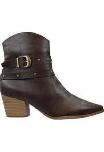 Bota Bebecê Feminina Ankle Boot Marrom Escuro - 33