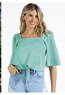Blusa Em Plano Viscose Com Elastano Verde
