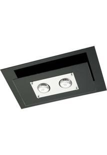 Plafon Retangular Para 2 Lâmpadas E27 Spacial Pmr 136 100W Vidro Preto Pantoja