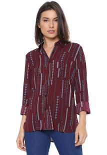 Camisa Facinelli By Mooncity Estampada Vinho