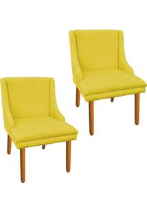 Kit 02 Cadeira Sala De Jantar Liz Suede Amarelo - D'Rossi