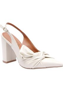 Sapato Chanel Em Couro Com Torção Frontal- Off Whitele Rossi