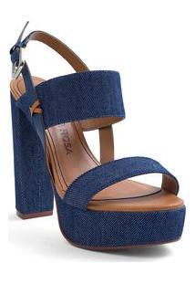 Sandalia Super Alto Com Fivela Azul