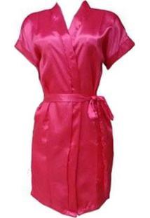 Robe Cetim Feminino Noiva Madrinha Roupão Dormir - Feminino-Pink
