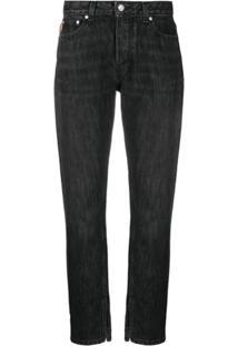 Ganni Calça Jeans Reta Com Estampa De Logo - Preto