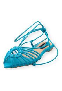 Sandalia Love Shoes Rasteira Bico Folha Amarração Tirinhas Turquesa