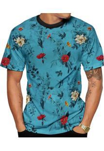 Camiseta Di Nuevo Azul Florida Verão 2019 Floral Top Azul