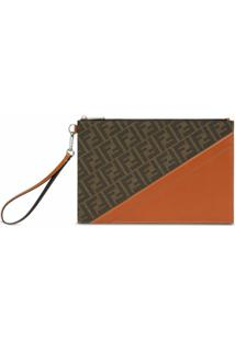 Fendi Clutch Com Estampa Ff - Marrom