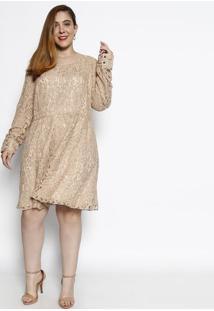 Vestido Em Renda Com Zíper- Bege- Cotton Colors Extrcotton Colors Extra