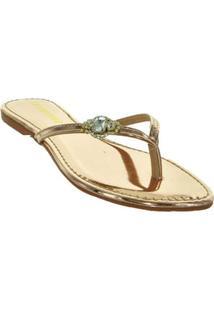 Rasteira Ouro Detalhe Pedra Ana Flor 57726023