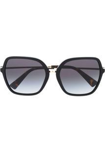 Valentino Eyewear Óculos De Sol Oversized - Preto