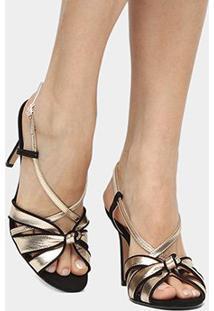 Sandália Couro Shoestock Salto Fino Nó Feminina - Feminino-Dourado