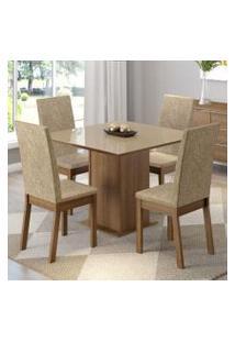 Conjunto Sala De Jantar Madesa Moscou Mesa Tampo De Vidro Com 4 Cadeiras Rustic/Imperial