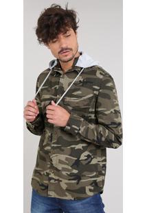 Jaqueta De Sarja Masculina Estampada Camuflada Com Capuz Verde Militar