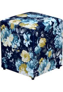 Puff Decorativo Lymdecor Quadrado Azul Estampado