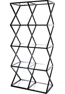 Estante Louvre Com Vidro Estrutura Em Tubo Cor Preto - 53545 - Sun House