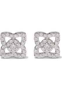 De Beers Par De Brincos 'Enchanted Lotus' De Ouro Branco 18K Com Diamantes - White Gold
