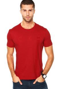 Camiseta Calvin Klein Bordado Estampa Vermelha