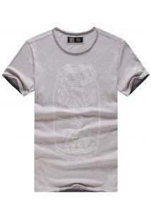 Camiseta Masculina Com Estampa Tomato Manga Curta - Cinza Claro