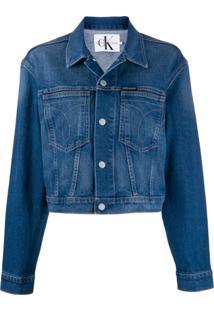 Calvin Klein Jeans Jaqueta Cropped 'Omega' - Azul