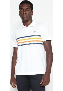 Polo Sport Listrada- Branca & Amarelo Escurolacoste