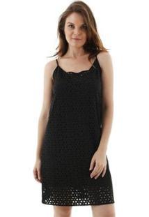 Vestido Alcinha Com Corte A Lazer Geometrico Aha Feminino - Feminino-Preto