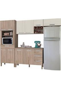 Cozinha Compacta Ametista Com Balcão 10 Portas Composição 5 Nogal/Aren