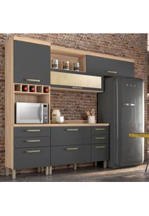 Cozinha Compacta Condessa 6 Pt 5 Gv Grafite E Cedro