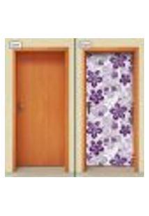 Adesivo Decorativo De Porta - Flores - 1349Cnpt