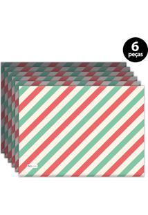 Jogo Americano Mdecore Natal Listras 40X28 Cm Verde 6Pçs