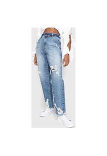Calça Jeans Guess Boyfriend Destroyed Azul