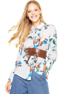 Camisa Facinelli By Mooncity Floral Branca