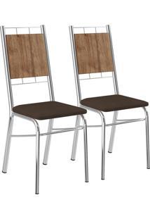 Kit 2 Cadeiras Mdp Native Napa Cacau Cromado Móveis Carraro
