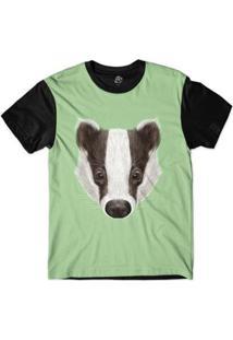 Camiseta Bsc Cara De Texugo Listrado Sublimada - Masculino-Verde