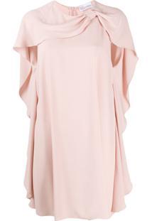 Redvalentino Vestido Reto Com Mangas Capa - Rosa