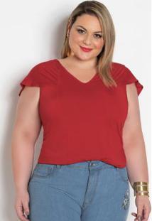 Blusa Vermelha Plus Size Com Manga Babado