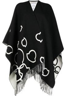 Moncler Pelerine De Lã Com Logo - Preto