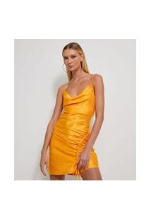 Vestido Curto Em Cetim Com Decote Degagê Franzido   Just Be   Amarelo   P
