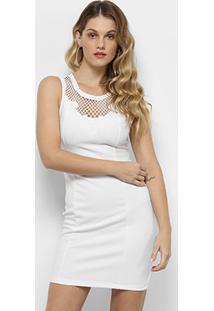 ed4bdf601 R$ 49,99. Zattini Vestido Curto Tubinho Branco Liso Com Renda Guipir  Feminino-Branco ...