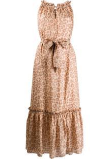 Zimmermann Vestido De Seda Com Estampa De Leopardo - Neutro