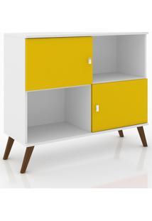 Rack Aparador Retrô Móvel Bento Branco/Amarelo
