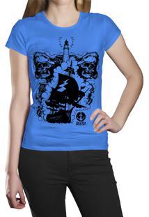 Camiseta Baby Look Hshop Pirata Azul Turquesa